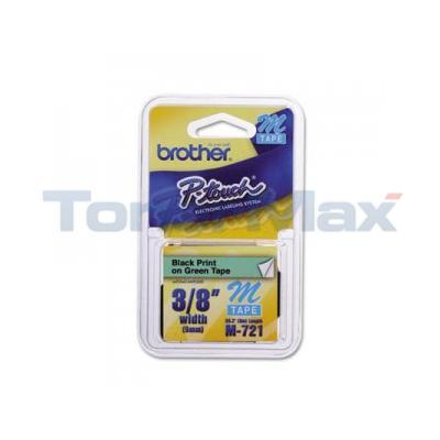 BROTHER PT-100 TAPE BLACK ON GREEN (9MM X 8M)